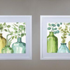 Cuadros hojas verdes en vidrio