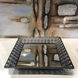 Bandeja cuadrada metal plateado y espejo