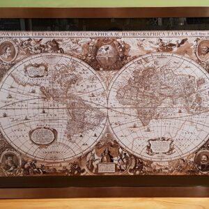 Cuadro planisferio Nova cobre