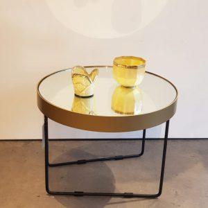 Mesa baja espejada plateada o dorada