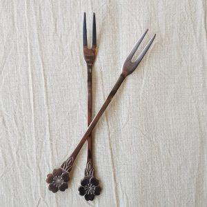 Tenedor corto plata cereza